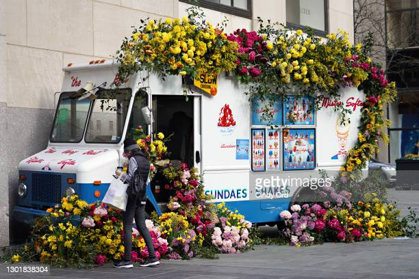"""In celebration of Valentine's Day, and as part of Rockefeller Center's month of """"Love at the Center,"""" a Lewis Miller Design custom-made Mister Softee..."""