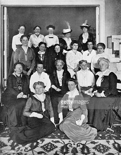 In centre of seated row is Carrie Chapman Catt American feminist leader 2nd from left Millicent Garrett Fawcett leader of British women's suffrage...