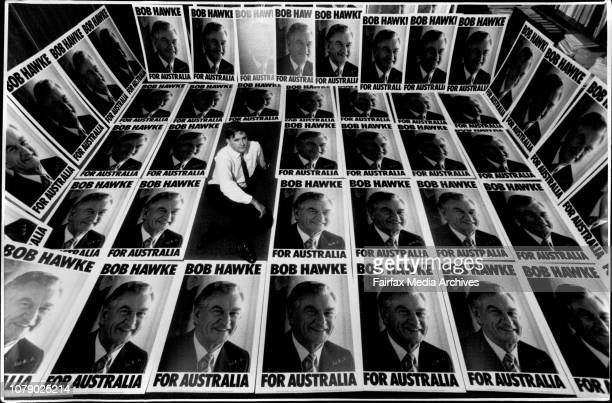 In charge of 6000 Bob Hawkes Anthony Albanese of the NSW branch of the Labor Party checks on posters of the leader before they are distributed to...