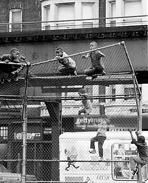 In Chicago a group of young boys climb the chain link backstop for a baseball field's batting cage 1966 Above ground tracks for the El train are...