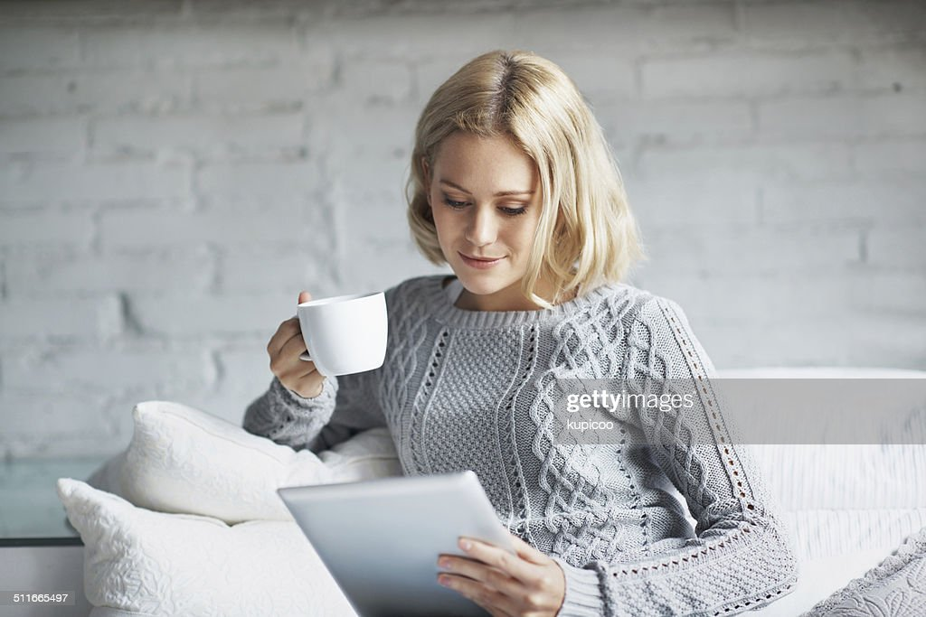 In coffee she trusts : Stock Photo