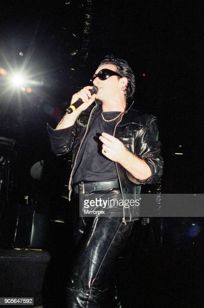 U2 in concert on the Zoo TV Tour Wembley Stadium Bono performing on stage 11th August 1993