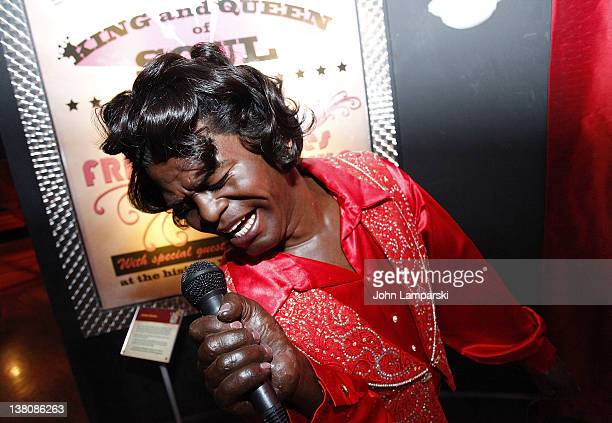 In conjunction with the unveiling of Aretha Franklin's wax figure the statue of James Brown is displayed to celebrate Black History Month at Madame...