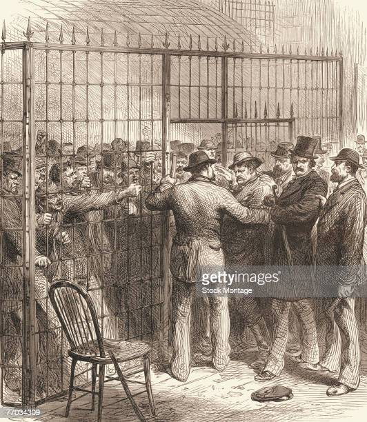 In custody at the United States Circuit Court a crowd of men accused of voter fraud during the presidential election between Rutherford B Hayes and...
