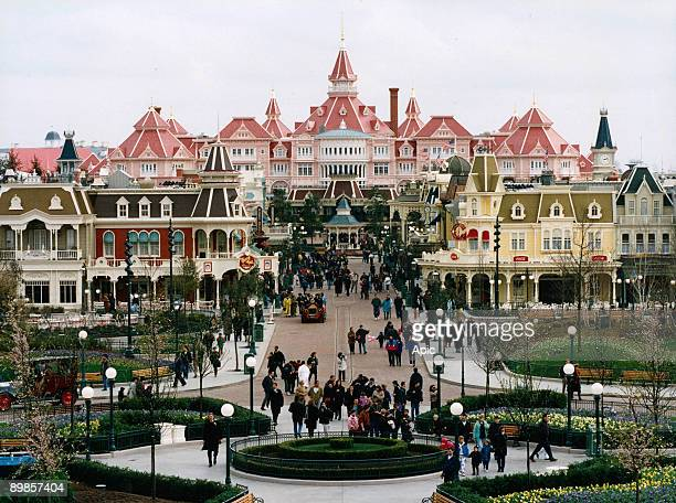 In Disneyland Paris Main Street at the entrance of the park in Marne la Vallee
