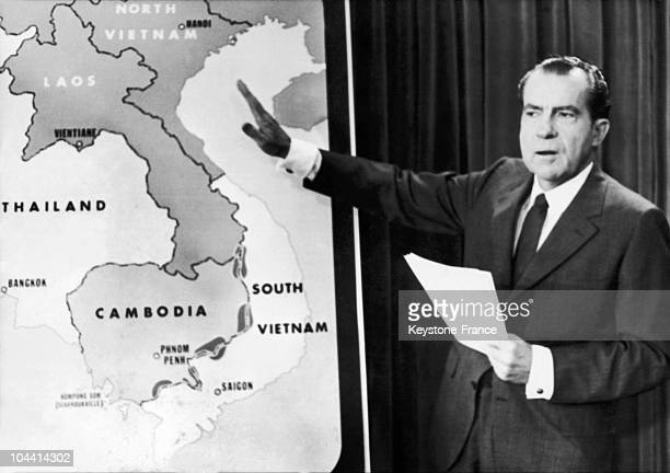 In early May 1970 the American President Richard NIXON standing before a map of Southeast Asia gave a conference before Congress in Washington during...