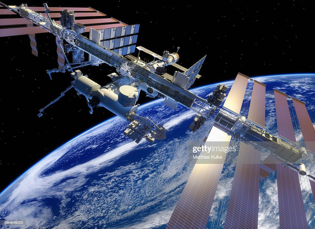 ISS in earth orbit, closer view : Stock Photo