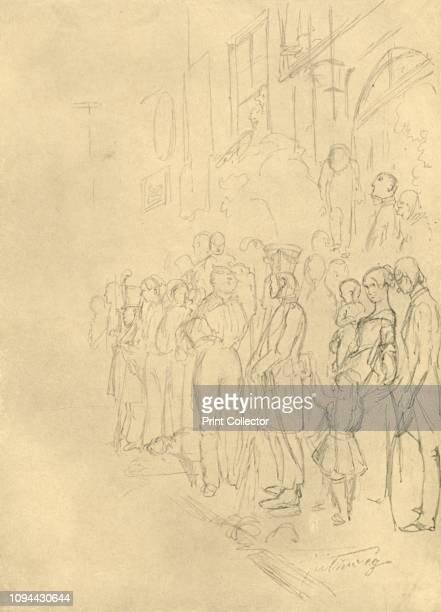 In Erwartung der Prozession', mid-late 19th century, . 'Waiting for the procession'. Crowds line the streets. From 'Die gute alte Zeit: Zeichnungen...