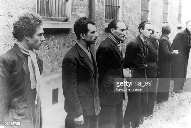 In February 1944 Wolf Wajsbrot Missak Manuchian Joseph Bogzor Maurice Fingerwieg And Szlama Grzywacz Are Arrested By German Police Forces