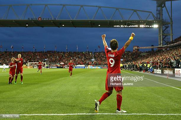 TORONTO ON MAY 7 In first half action Toronto FC forward Tsubasa Endoh celebrates his goal in the newly revamped stadium The Toronto Football Club...