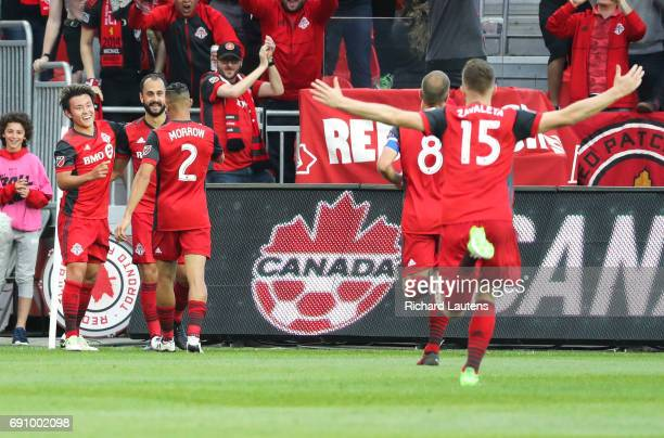 TORONTO ON MAY 31 In first half action Toronto FC forward Tsubasa Endoh celebrates his goal with team mates The TFC took on the Ottawa Fury in the...