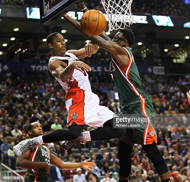 In first half action Toronto Raptors guard DeMar DeRozan makes a pass around Milwaukee Bucks center Larry Sanders The Toronto Raptors played the...