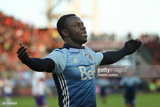 TORONTO ON MAY 14 In first half action Vancouver Whitecaps forward Kekuta Manneh celebrates his goal The Toronto Football Club took on the Vancouver...