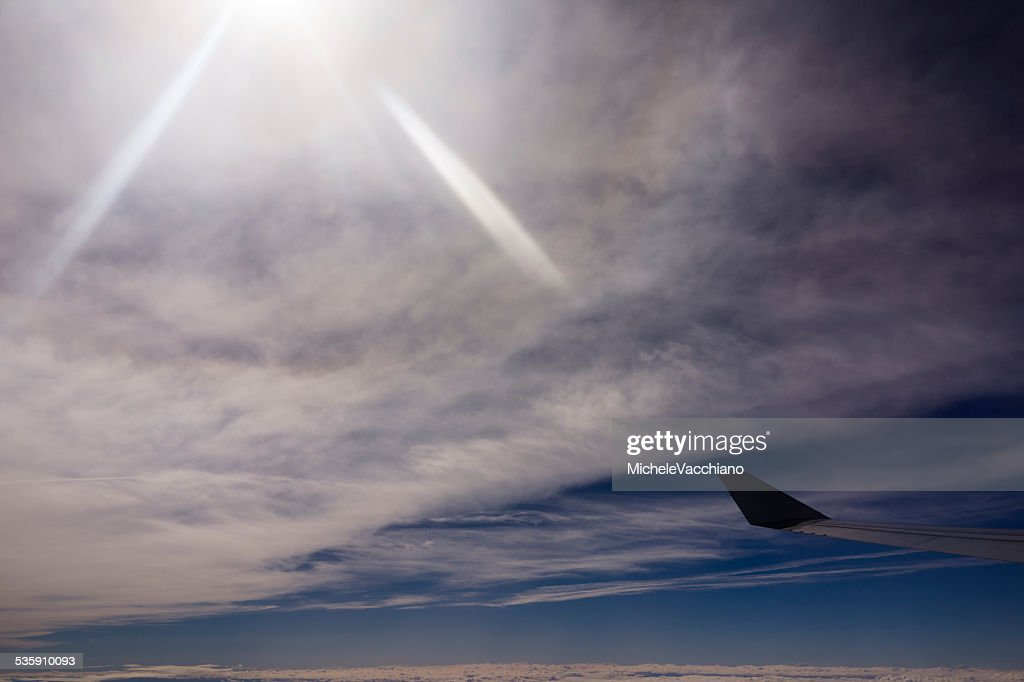 In flight above the Alps between Italy and Switzerland : Stock Photo