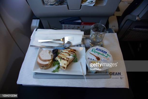 In flight breakfast meal during a flight in business class with Aegean Airlines from Athens Aegean offers a variety of great and tasty options in...