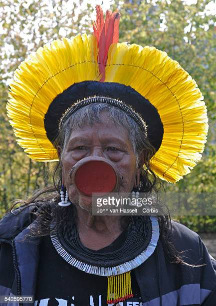 In France for a cataract operation and to collect funds for his people indigenous Indian chief of the Kayapo tribe Raoni Metuktire who lives in the...
