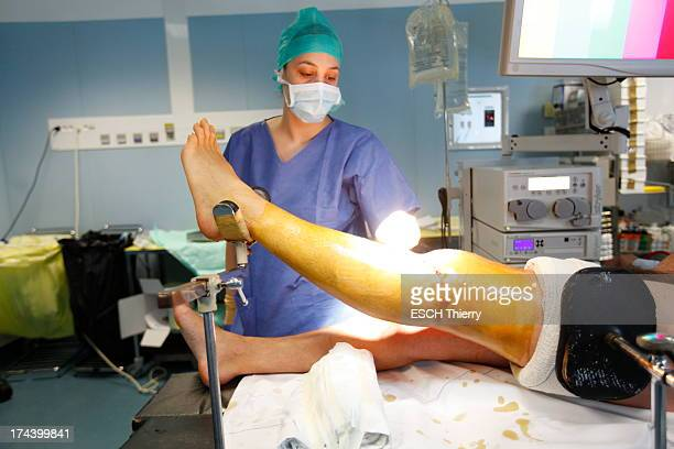 In France the first clinical trials of the injection of stem cells to regenerate tissues were allowed Stem cells transplantation in a operating room...