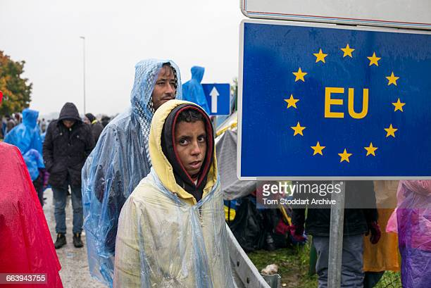 In freezing cold and heavy rain refugees wait to cross at the Timovec border crossing between Croatia and Slovenia.