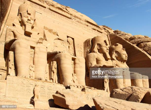 In front of Great Temple of Ramesses II at Abu Simbel, Upper Egypt.