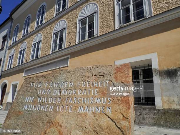 In front of Hitlers birthplace there is a stone from a stonequarry in Mauthausen concentration camp where prisoners had to work For peace freedom and...