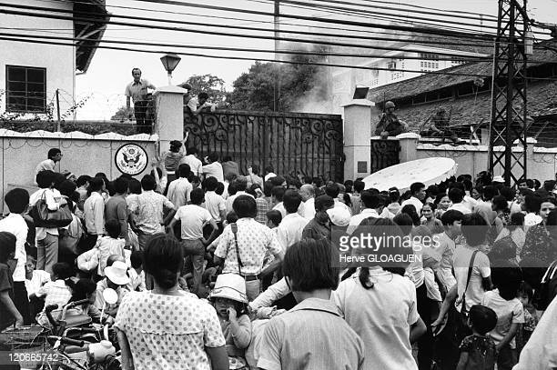 In front of the American Embassy in Saigon Vietnam on April 29 1975 Civilians expecting in front of the United States Embassy