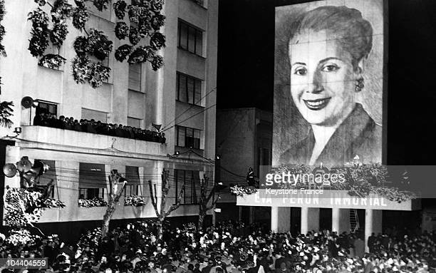 In front of the building of the General Federation of Labour in Rio de Janeiro a ceremony unfolds upon the third anniversary of the death of Eva...
