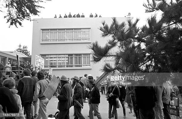 In front of the San Francisco State College administration building members of the American Federation of Teachers demonstrate in support of a...