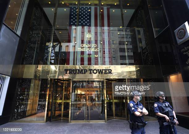 In front of Trump Tower on Fifth Avenue as New York City enters phase two of reopening on June 22, 2020. - New York City begins Phase Two of the...