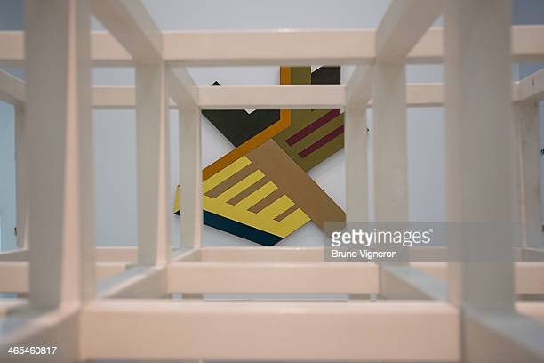 In front Sol Lewitt Modular cube and background Frank Stella Parczeczew as part of 'The New York Moment' an exhibition of American art from the 1960s...