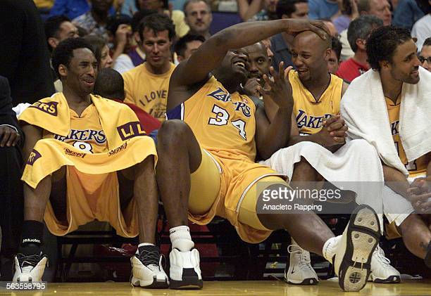 in Game 4 of the San Antonio Spurs versus the Los Angeles Lakers NBA Western Conference Finals at the Staples Center on 5/27/01 Kobe Bryant Shaquille...