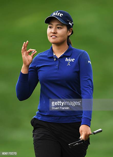 In Gee Chun of Korea celebrates a putt during the second round of The Evian Championship on September 16 2016 in EvianlesBains France