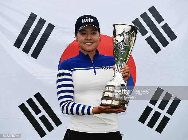 In Gee Chun of Korea holds the trophy after winning The Evian Championship on September 18 2016 in EvianlesBains France