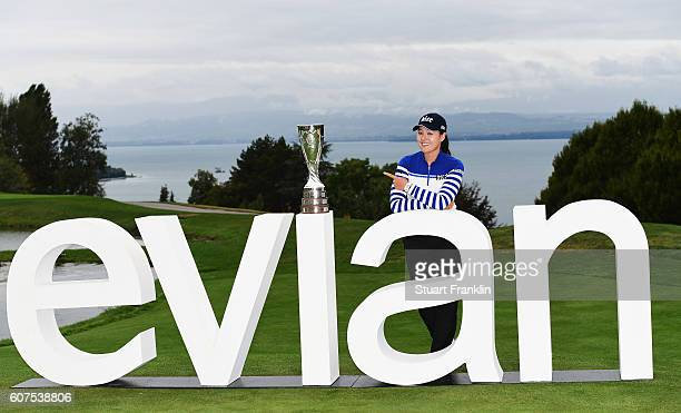 In Gee Chun of Korea points to the trophy after winning The Evian Championship on September 18 2016 in EvianlesBains France