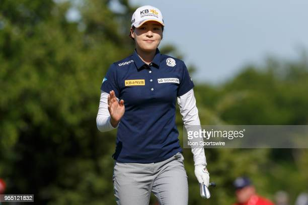 In Gee Chun of Korea waves after chipping close on during the LPGA Volunteers of America Texas Classic on May 5 2018 at the Old American Golf Club in...