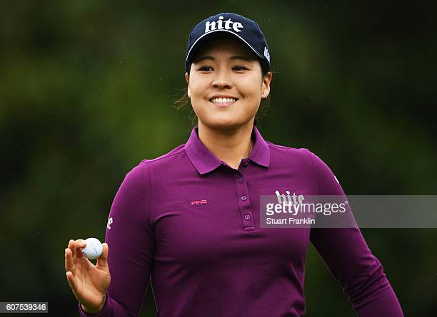In Gee Chun of Korea waves her ball during the final round of The Evian Championship on September 18 2016 in EvianlesBains France