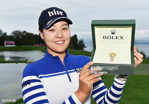 In Gee Chun of Korea with a Rolex watch after winning The Evian Championship on September 18 2016 in EvianlesBains France