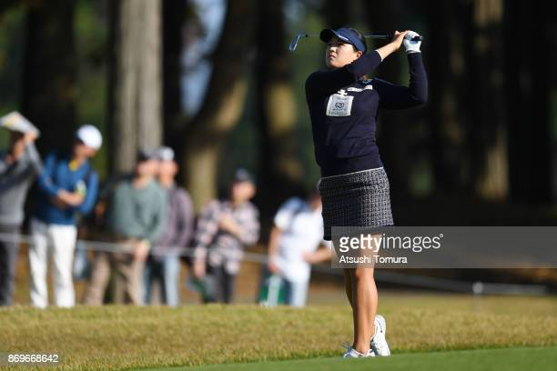 In Gee Chun of South Korea hits her second shot on the 18th hole during the first round of the TOTO Japan Classics 2017 at the Taiheiyo Club Minori...