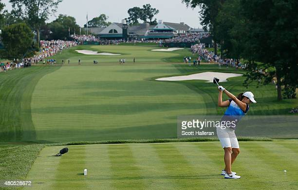 In Gee Chun of South Korea hits her tee shot on the 18th hole during the final round of the US Women's Open at Lancaster Country Club on July 12 2015...