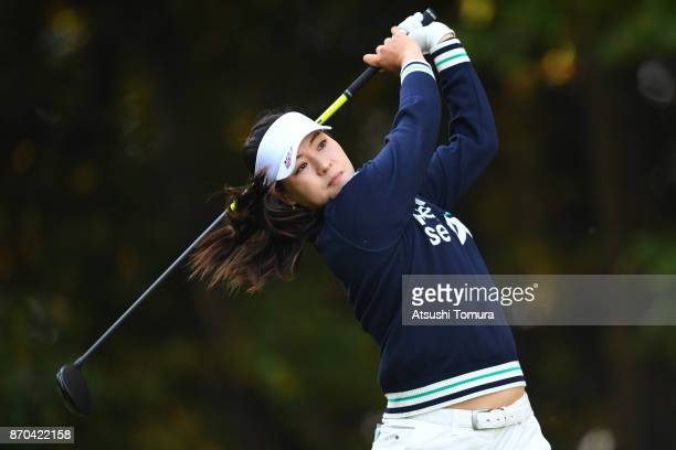 In Gee Chun of South Korea hits her tee shot on the 2nd hole during the final round of the TOTO Japan Classics 2017 at the Taiheiyo Club Minori...