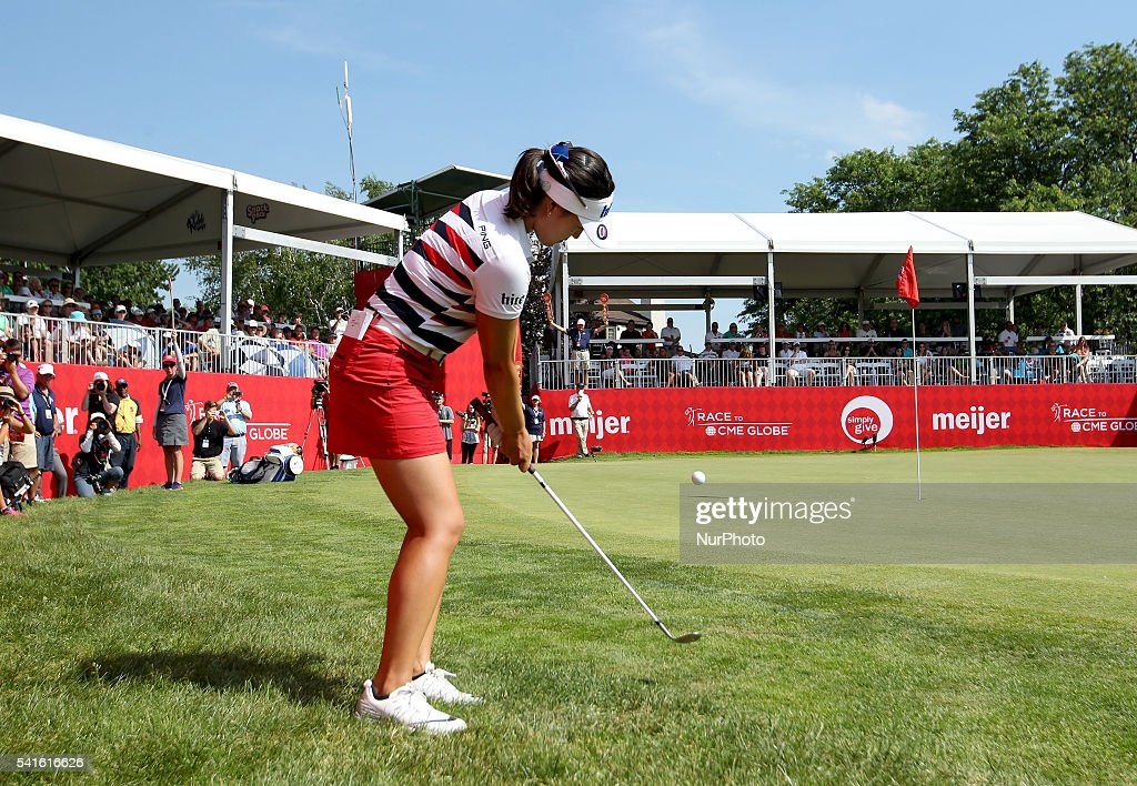 In Gee Chun of South Korea hits out of the rough toward the 18th green during the final round of the Meijer LPGA Classic golf tournament at Blythefield Country Club in Belmont, MI, USA Sunday, June 19, 2016.