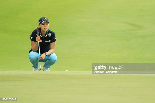 In Gee Chun of South Korea lines up a putt on the eighth green during round two of the HSBC Women's World Championship at Sentosa Golf Club on March...