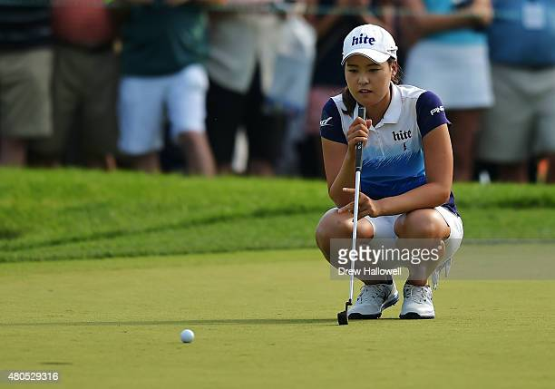 In Gee Chun of South Korea lines up her putt on the 17th hole during the final round of the U.S. Women's Open at Lancaster Country Club on July 12,...