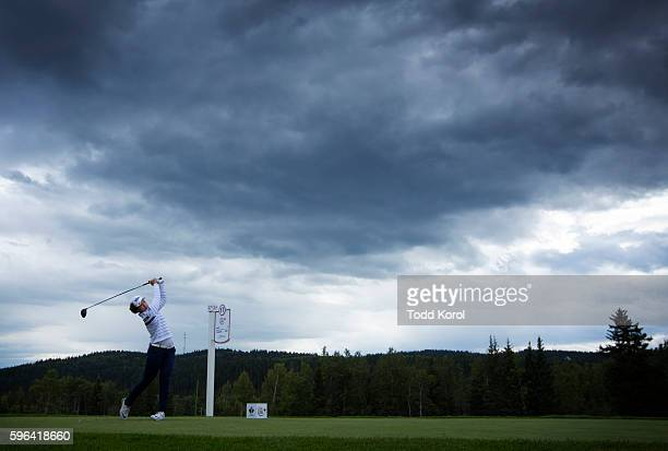 In Gee Chun of South Korea tees off on the 17th hole during the third round of the Canadian Pacific Women's Open at Priddis Greens Golf and Country...