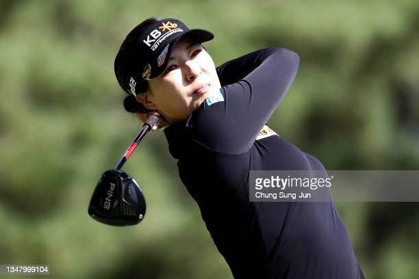 In Gee Chun of South Korea tees off on the ninth hole during the second round of the BMW Ladies Championship at LPGA International Busan on October...