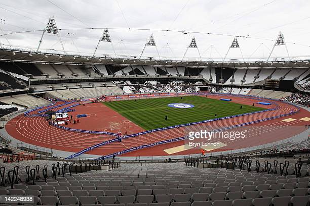 In general view of inside the Olympic Stadium during the National Lottery Olympic Park Run at Olympic Stadium on March 31, 2012 in London, England.