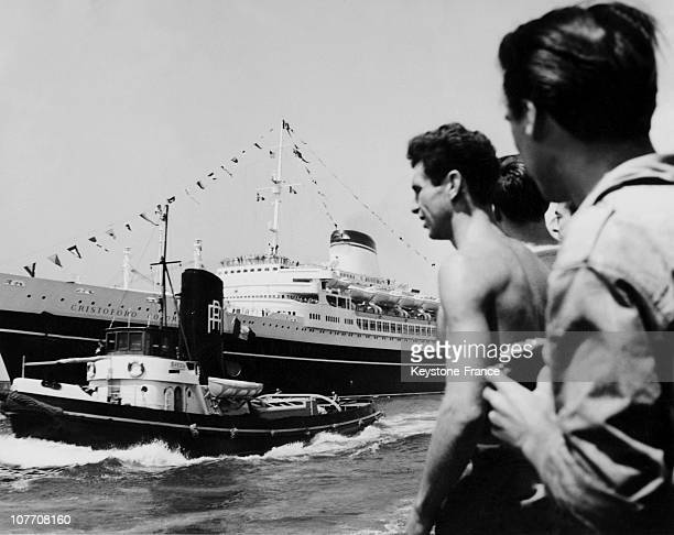 In Genoa The Beginning Of The Cruise Liner'S Inaugural 'Cristofo Colombo' Sister Ship Of The Andrea Doria On July 15Th 1954 At Genoa The Beginning Of...