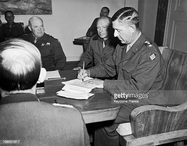 In Haar Bavaria On May 5 Jacob L Devers The General Commander Of The 6Th Armed Division Countersigned The Surrender Of The 'G' Group Of German Armies...