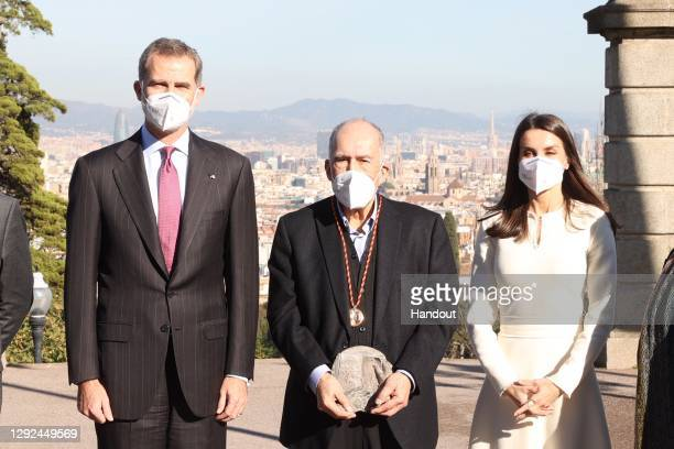 In handout image provided by the Spanish Royal Household, King Felipe VI of Spain and Queen Letizia of Spain attend the 'Miguel de Cervantes 2019'...