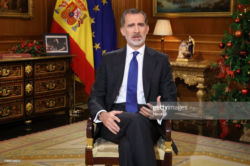 King Felipe Of Spain Delivers His Traditional Christmas Speech To The Nation : Nachrichtenfoto
