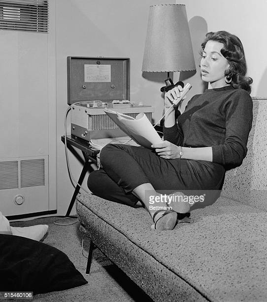 In her Hollywood wigwam shapely Kim Winona rehearses the script with the aid of a tape recorder She left the reservation at 15 graduated from high...